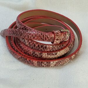 LOFT Pink Double Wrap Skinny Belt sz M #1313
